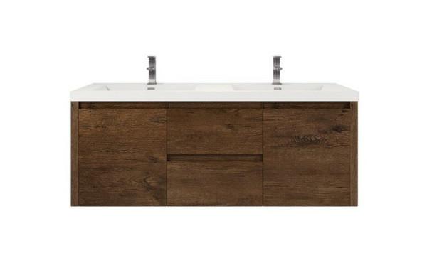 JADE 60'' ROSEWOOD MOUNTED MODERN BATHROOM VANITY WITH DOUBLE ACRYLIC SINK