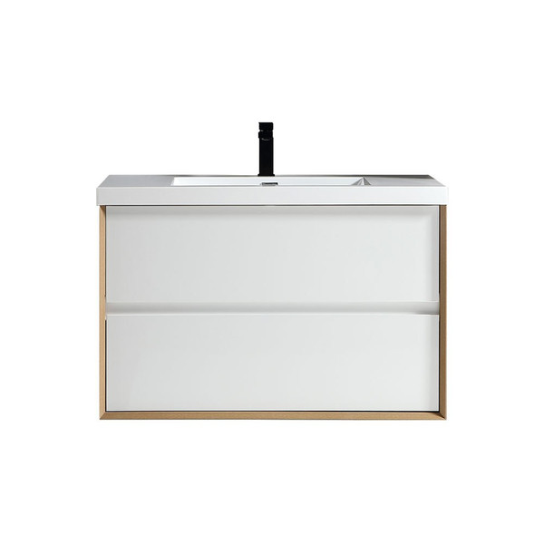 """SLIM 36"""" GLOSS WHITE WALL MOUNTED VANITY WITH REINFORCED ACRYLIC SINK"""