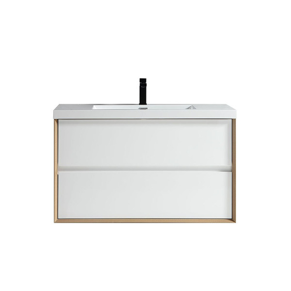 """SLIM 42"""" GLOSS WHITE WALL MOUNTED VANITY WITH REINFORCED ACRYLIC SINK"""