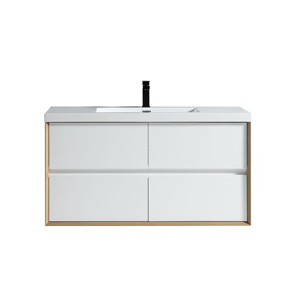 """SLIM 48"""" GLOSS WHITE WALL MOUNTED VANITY WITH REINFORCED ACRYLIC SINK"""