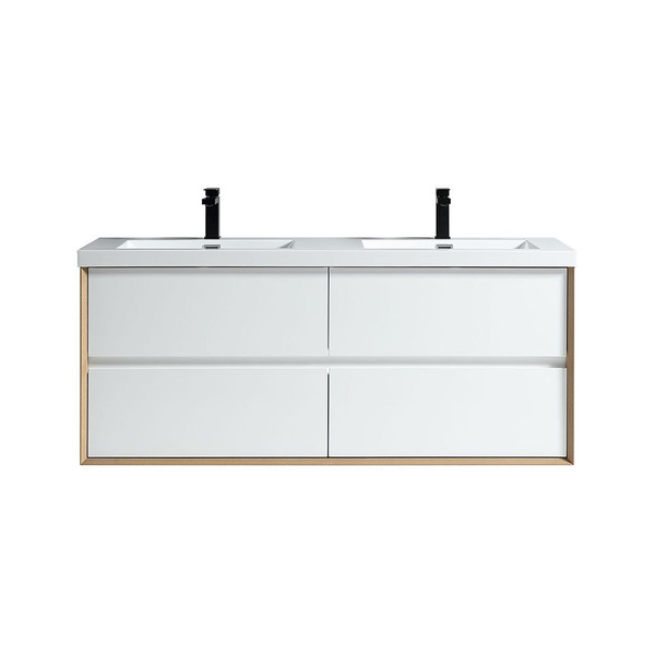 "SLIM 60"" GLOSS WHITE WALL MOUNTED VANITY WITH REINFORCED ACRYLIC SINKS"