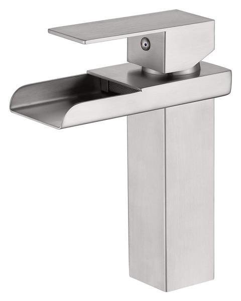 MODERN SINGLE HOLE WATERFALL FAUCET IN BRUSH NICKEL\MP005L