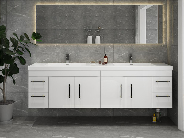 """ELSA 84"""" GLOSSY WHITE WALL MOUNTED VANITY WITH REINFORCED ACRYLIC SINK"""