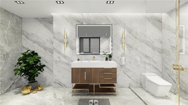 BT001 48''Rosewood Freestanding Vanity with Reinforced Acrylic Sink