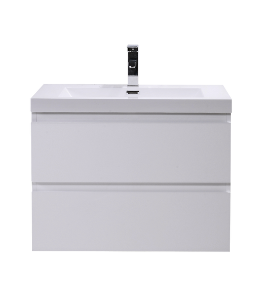 """MORENO MOB 30"""" HIGH GLOSS WHITE WALL MOUNTED MODERN BATHROOM VANITY WITH REEINFORCED ACRYLIC SINK"""