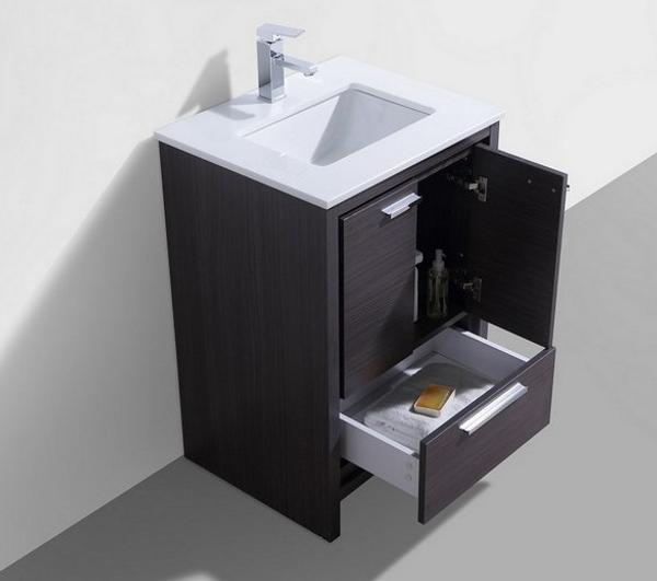 MORENO DOLCE 24'' DARK GRAY OAK MODERN BATHROOM VANITY W/ 2 DOORS AND ACRYLIC SINK