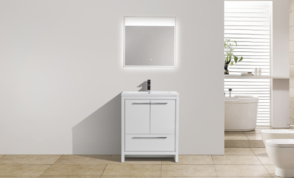 MORENO DOLCE 30'' HIGH GLOSS WHITE MODERN BATHROOM VANITY W/ 2 DOORS AND ACRYLIC SINK
