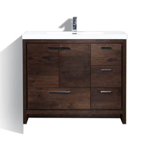 "MORENO MOD 42"" ROSEWOOD MODERN BATHROOM VANITY W/ RIGHT SIDE DRAWERS AND ACRYLIC SINK"