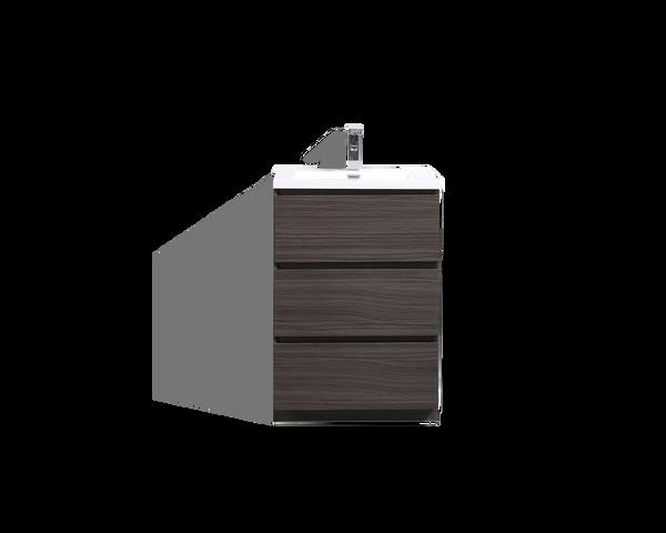 MOA 24'' DARK GRAY OAK MODERN BATHROOM VANITY W/ 3 DRAWERS AND ACRYLIC SINK