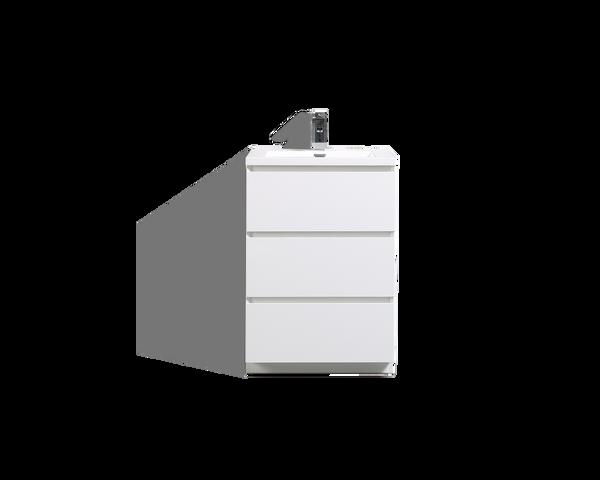 MOA 24'' GLOSS WHITE MODERN BATHROOM VANITY W/ 3 DRAWERS AND ACRYLIC SINK