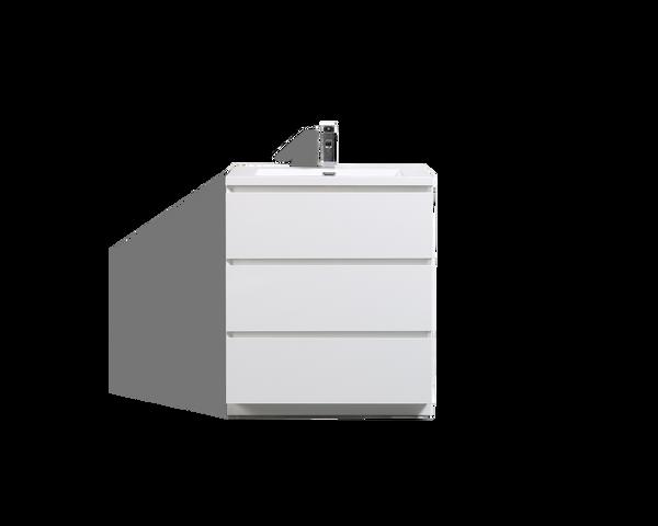 MOA 30'' GLOSS WHITE MODERN BATHROOM VANITY W/ 3 DRAWERS AND ACRYLIC SINK