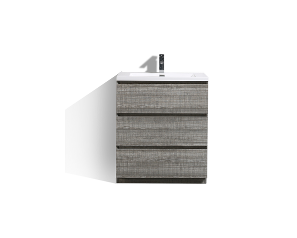 MOA 30'' GLOSS ASH-GRAY MODERN BATHROOM VANITY W/ 3 DRAWERS AND ACRYLIC SINK