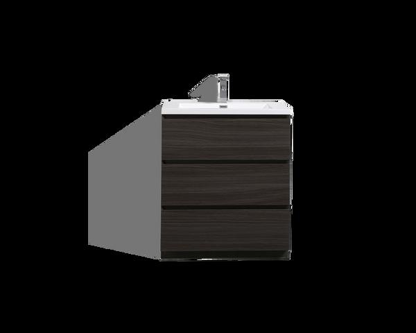 MOA 30'' DARK GREY-OAK MODERN BATHROOM VANITY W/ 3 DRAWERS AND ACRYLIC SINK