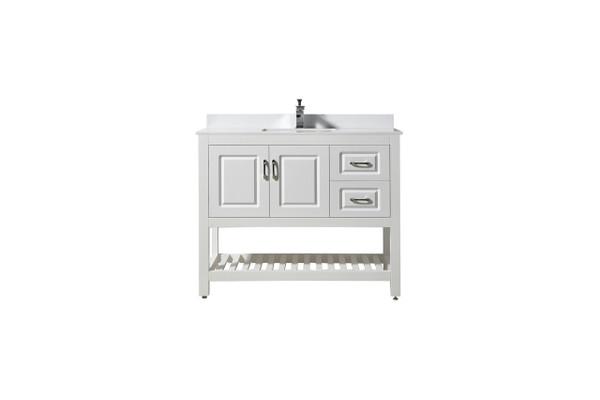 """Louis 7042"""" White Bathroom Vanity with Quartz Marble Top"""