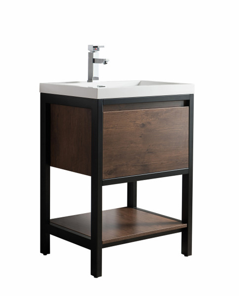 """Lake 24"""" Rosewood Free Standing Modern Bathroom Vanity with Matte Black Stainless Steel  Frame with Acrylic Sink"""