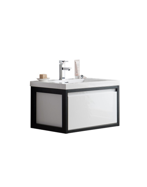 "Lake 30"" Glossy White Wall Hung Modern Bathroom Vanity with Matte Black Stainless Steel Frame with Acrylic Sink"