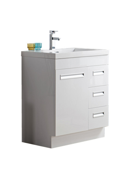 "Alma 30"" Glossy White Free Standing Right Side Modern Bathroom Vanity"