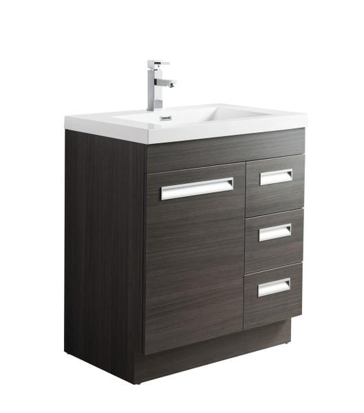 "Alma 30"" Grey Oak Free Standing Right Side Modern Bathroom Vanity"