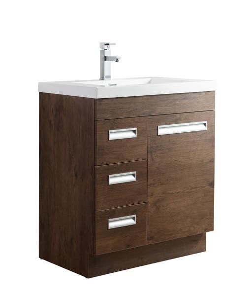 """Alma 30"""" Rosewood Free Standing Left Side Modern Bathroom Vanity"""