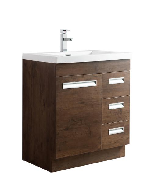 """Alma 30"""" Rosewood Free Standing Right Side Modern Bathroom Vanity"""