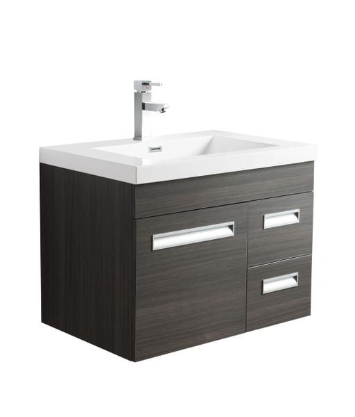 """Alma 30"""" Grey Oak Wall Hung Right Side Modern Bathroom Vanity"""
