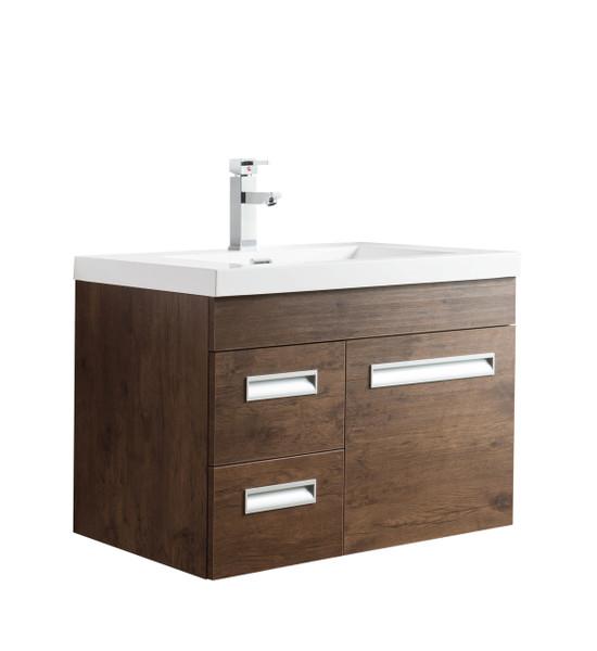 "Alma 30"" Rosewood Wall Hung Left Side Modern Bathroom Vanity"