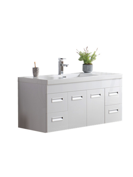 "Alma 48"" Glossy White Wall Hung Modern Bathroom Vanity"