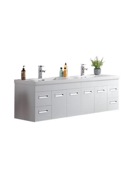 "Alma 72"" Glossy White Wall Hung Modern Bathroom Vanity"