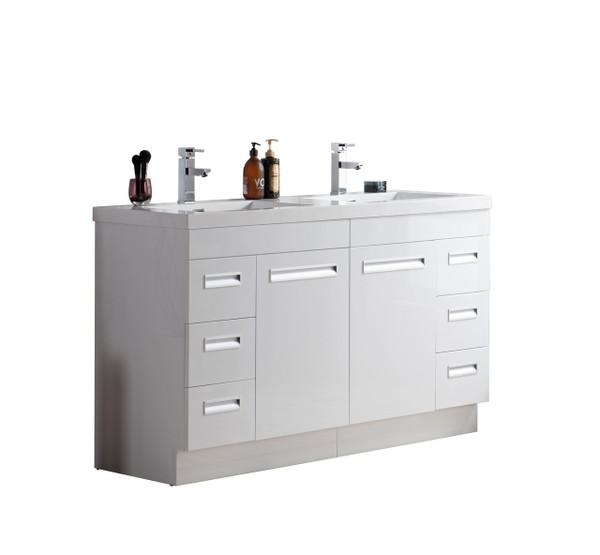 "Alma 60"" Glossy White Free Standing Modern Bathroom Vanity"