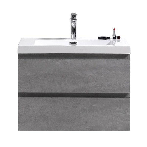 "MORENO MOB 30"" CONCRETE GREY WALL MOUNTED MODERN BATHROOM VANITY WITH REEINFORCED ACRYLIC SINK"
