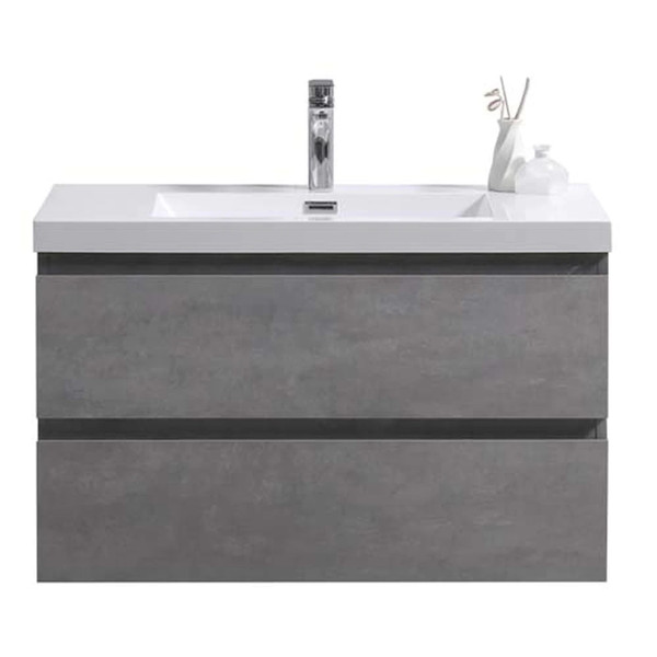 "MORENO MOB 36"" CONCRETE GREY WALL MOUNTED MODERN BATHROOM VANITY WITH REEINFORCED ACRYLIC SINK"