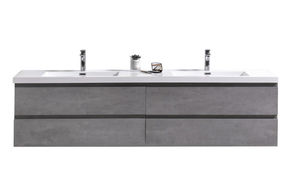 "MORENO MOB 72"" DOUBLE SINK CONCRETE GREY WALL MOUNTED MODERN BATHROOM VANITY WITH REEINFORCED ACRYLIC SINK"