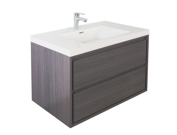 "Molly 36"" Grey Oak Wall Mounted Modern Vanity"
