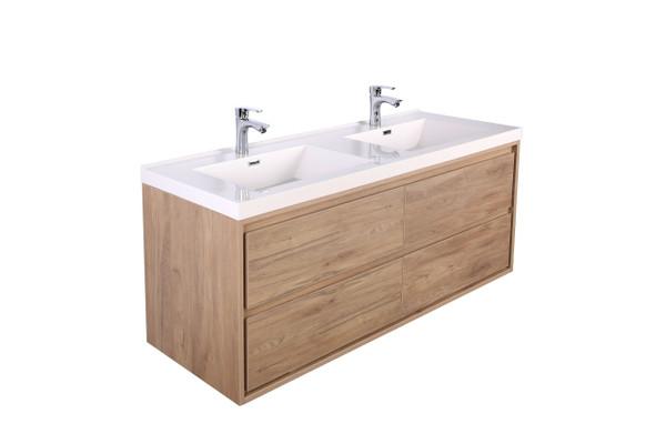 """Molly 60"""" Double Sink Teak Oak Wall Mounted Modern Vanity"""