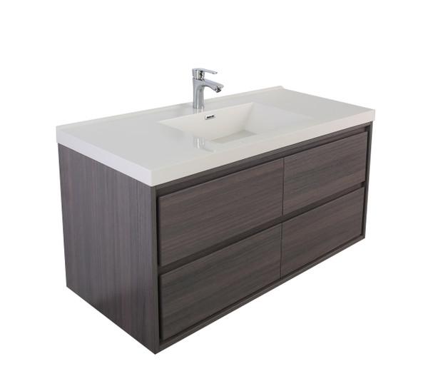 """Molly 60"""" Single Sink Grey Oak Wall Mounted Modern Vanity"""