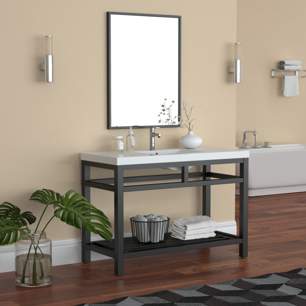 """OTTO 48"""" STAINLESS STEEL CONSOLE W/ WHITE ACRYLIC SINK - BLACK"""