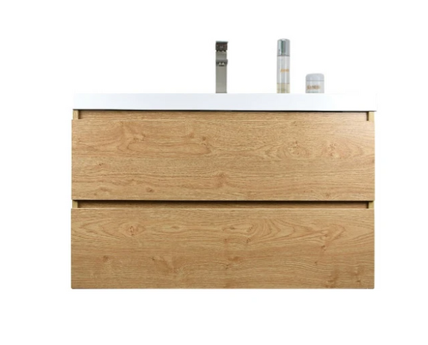 "MORENO MOB 36"" NEW ENGLAND OAK WALL MOUNTED MODERN BATHROOM VANITY WITH REEINFORCED ACRYLIC SINK"