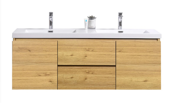 "MORENO MOB 60"" DOUBLE SINK NATURAL OAK WALL MOUNTED MODERN BATHROOM VANITY WITH REEINFORCED ACRYLIC SINK"