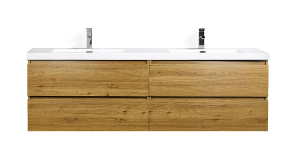 "MORENO MOB 72"" DOUBLE SINK NATURAL OAK WALL MOUNTED MODERN BATHROOM VANITY WITH REEINFORCED ACRYLIC SINK"