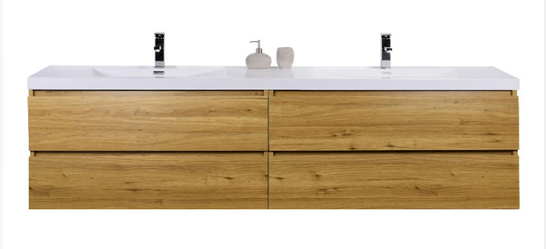 """MORENO MOB 84"""" DOUBLE SINK NATURAL OAK WALL MOUNTED MODERN BATHROOM VANITY WITH REEINFORCED ACRYLIC SINK"""