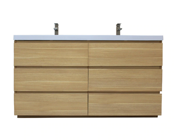 MOA 72″ DOUBLE SINK WHITE OAK MODERN BATHROOM VANITY W/ 6 DRAWERS AND ACRYLIC SINK