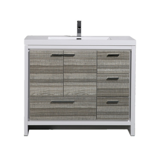 MORENO DOLCE 42″ HIGH GLOSS ASH GREY MODERN BATHROOM VANITY W/ RIGHT SIDE DRAWERS AND ACRYLIC SINK