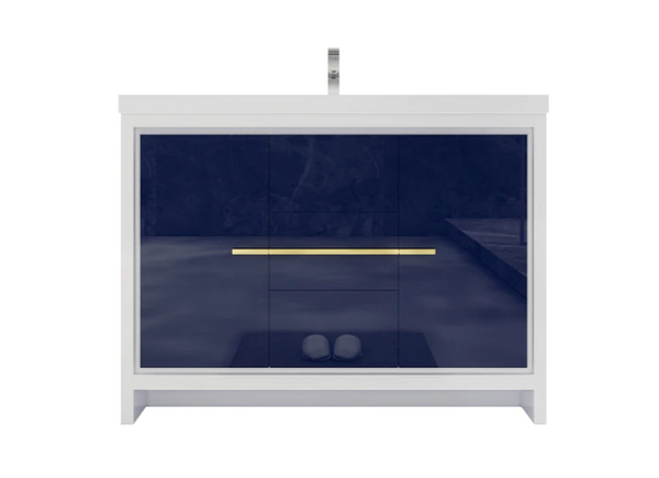 MORENO DOLCE 48″ NGIHT BLUE MODERN BATHROOM VANITY W/ 2 DOORS 3 DRAWERS AND ACRYLIC SINK
