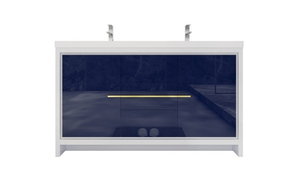 MORENO DOLCE 60″ DOUBLE SINK NIGHT BLUE MODERN BATHROOM VANITY W/ 2 DOORS 3 DRAWERS AND ACRYLIC SINK