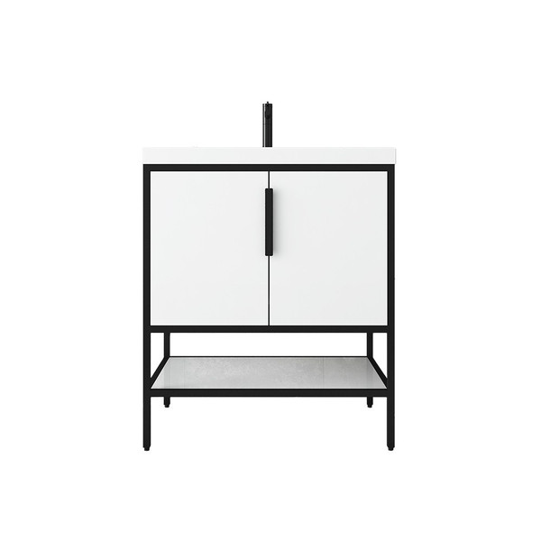 """MATTHEW 30"""" GLOSSY WHITE FREESTANDING VANITY WITH REINFORCED ACRYLIC SINK"""