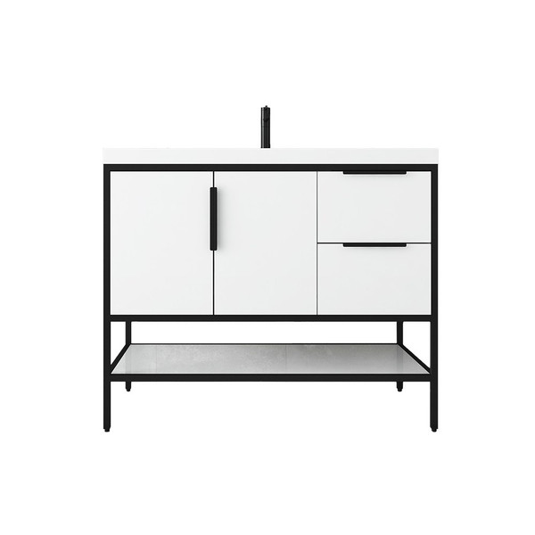 """MATTHEW 42"""" GLOSSY WHITE FREESTANDING VANITY WITH REINFORCED ACRYLIC SINK"""