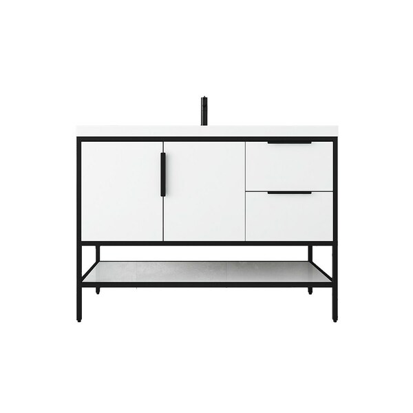 """MATTHEW 48"""" GLOSSY WHITE FREESTANDING VANITY WITH REINFORCED ACRYLIC SINK"""