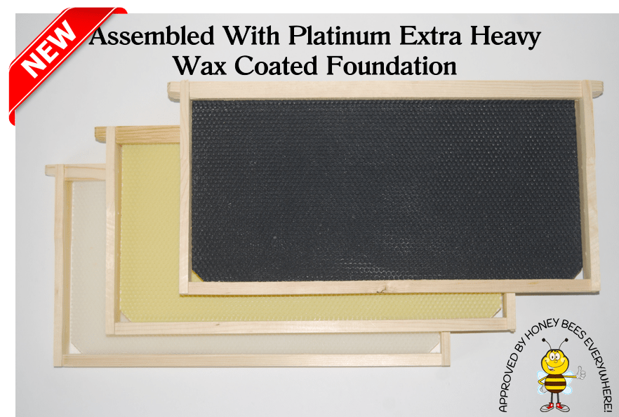 "Assembled 9-1/8"" wooden frames with Platinum Extra Heavy Wax Coated Plastic Foundation"
