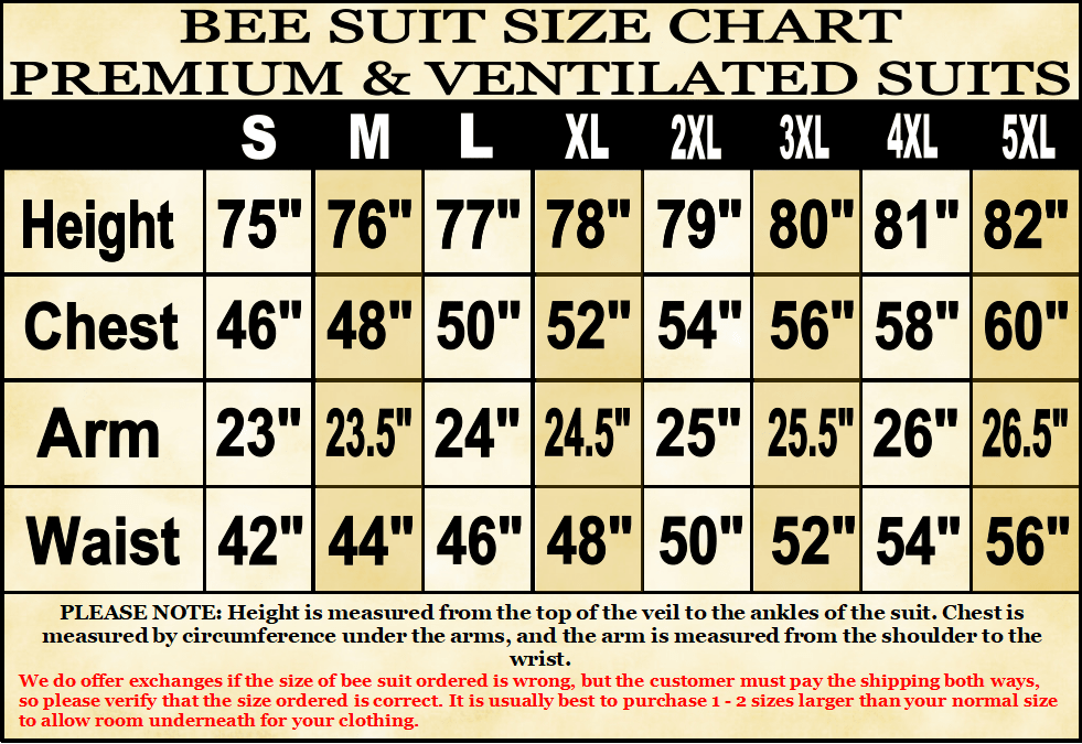 Bee Suit Sizing Chart for 8 frame budge colony starter kit Lappe's Bee Supply