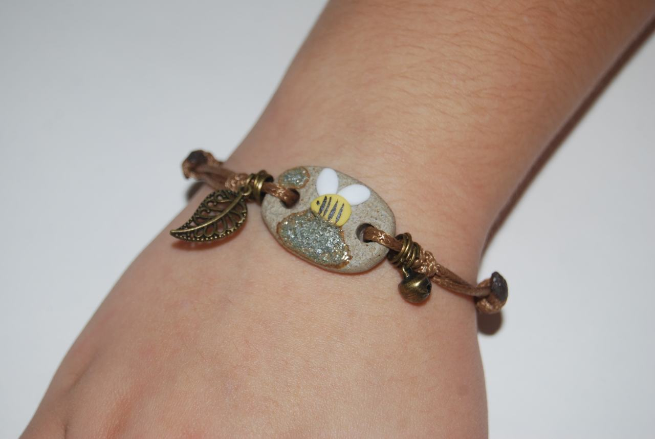 Honey Bee Adjustable String Bracelet